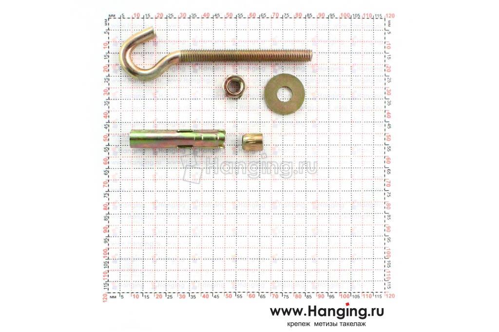 Характеристики и составные части анкерного болта с крюком М6 8х45