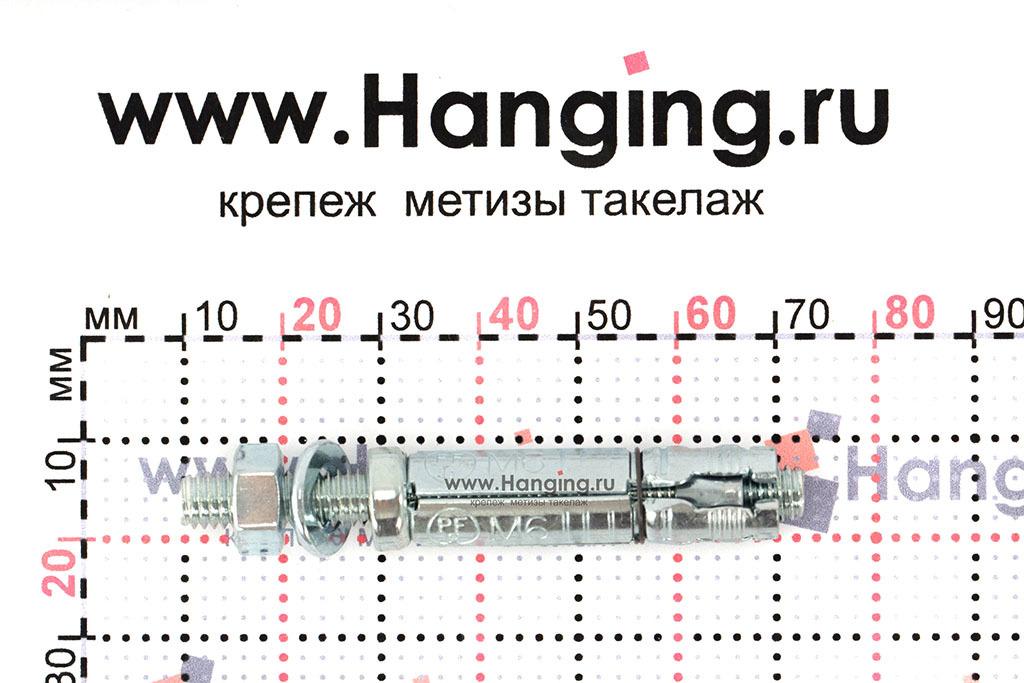 Размеры анкерной гильзы и шпильки Sormat SB М6/15 М6х62