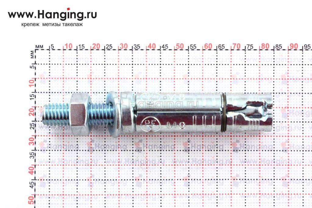 Размеры анкерной гильзы и шпильки Sormat SB М8/20 М8х78