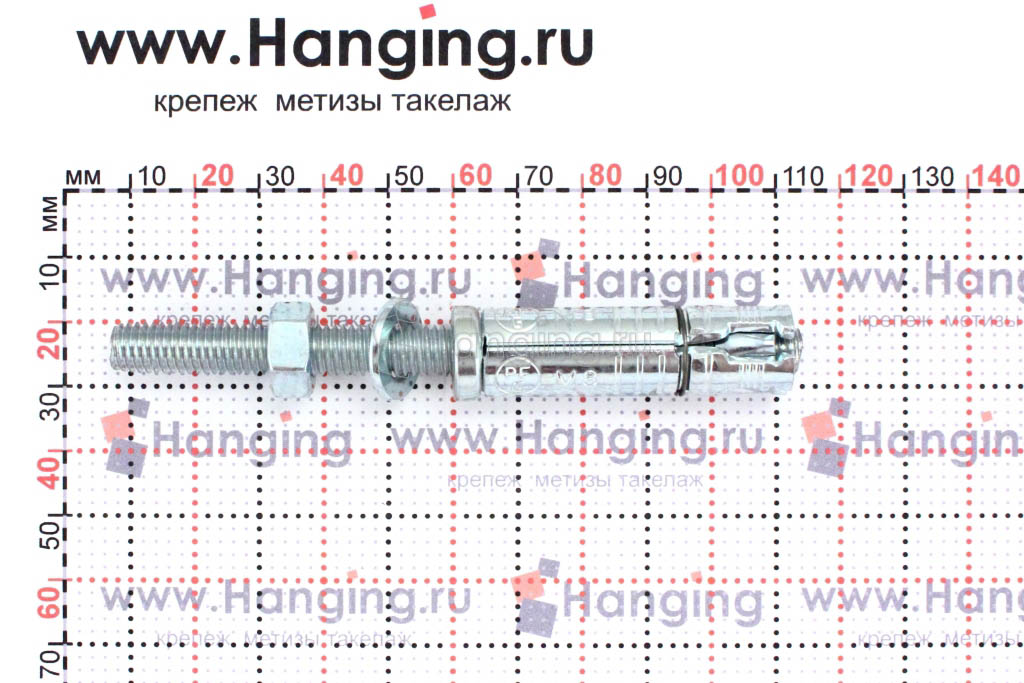 Размеры анкерной гильзы и шпильки Sormat SB М8/45 М8х103