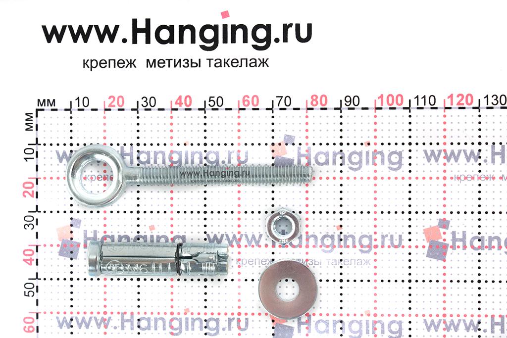 Составные части и размеры анкера кольца Sormat PFG EBF М6