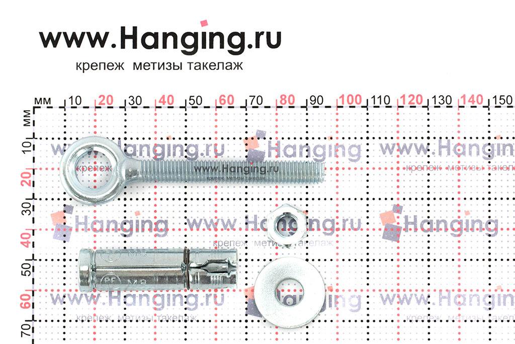 Составные части и размеры анкера кольца Sormat PFG EBF М8