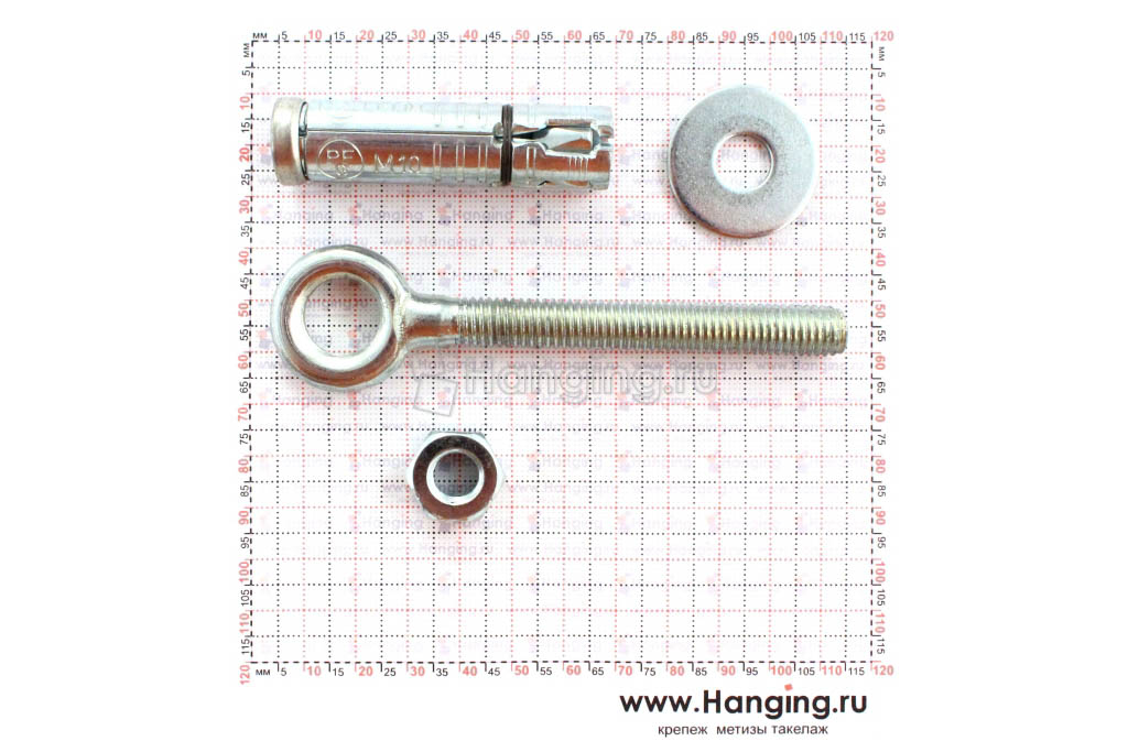 Составные части и размеры анкера кольца Sormat PFG EBF М10