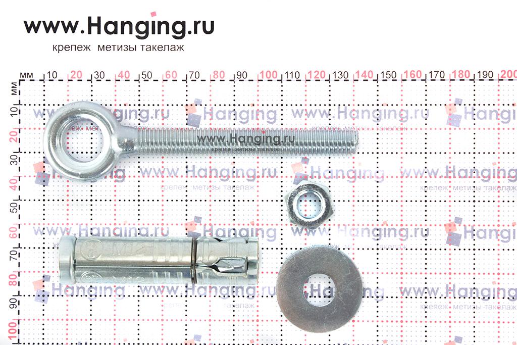 Составные части и размеры анкера кольца Sormat PFG EBF М12