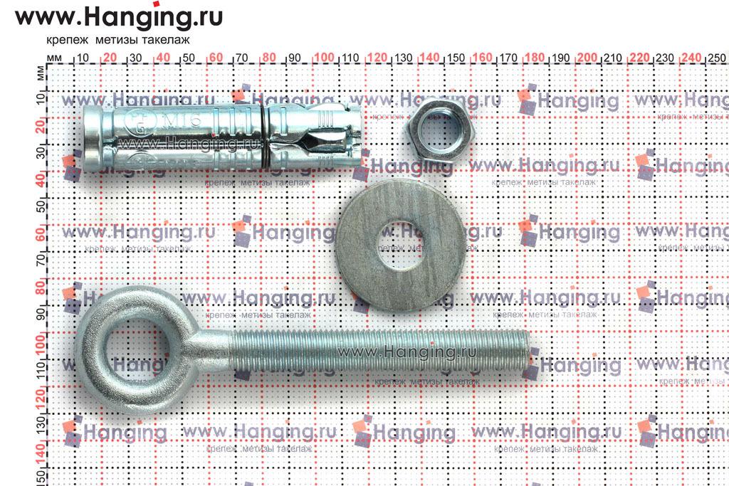 Составные части и размеры анкера кольца Sormat PFG EBF М16