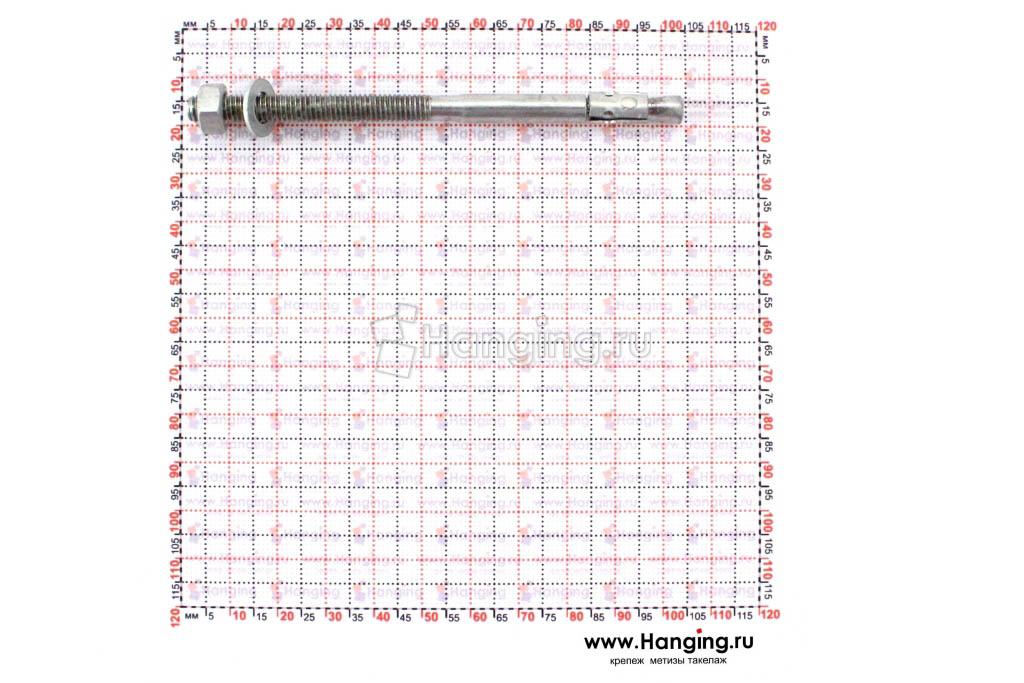 Размеры анкеров оцинкованных клиновых М6x100