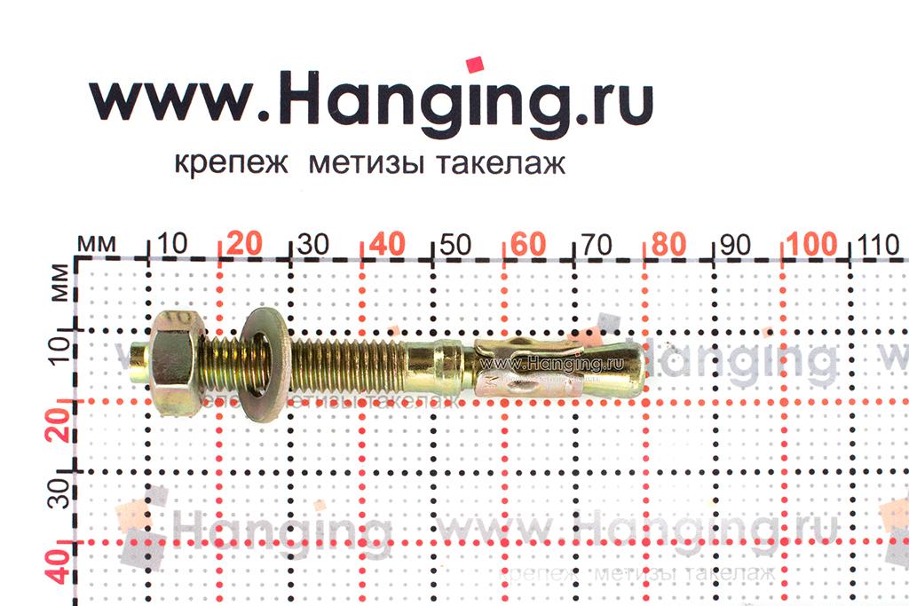 Размеры клинового анкера М8х70 желтопассированного