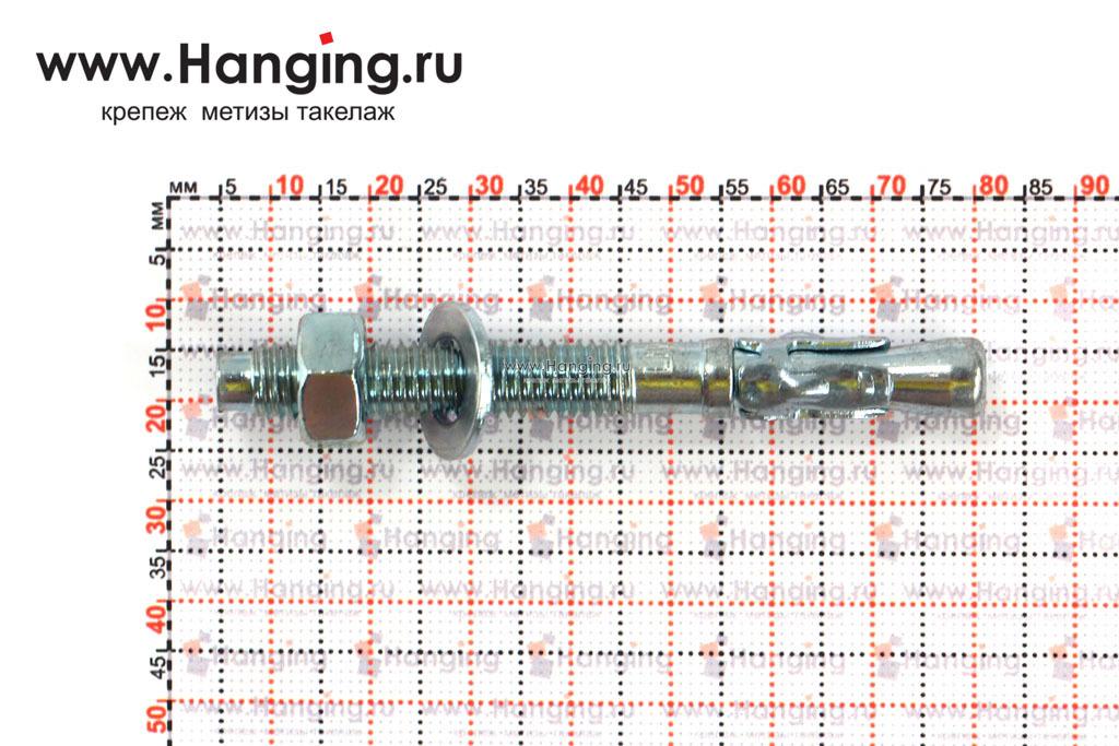 Размеры анкеров оцинкованных клиновых М8x75