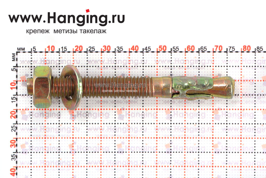 Размеры клинового анкера М8х80 желтопассированного