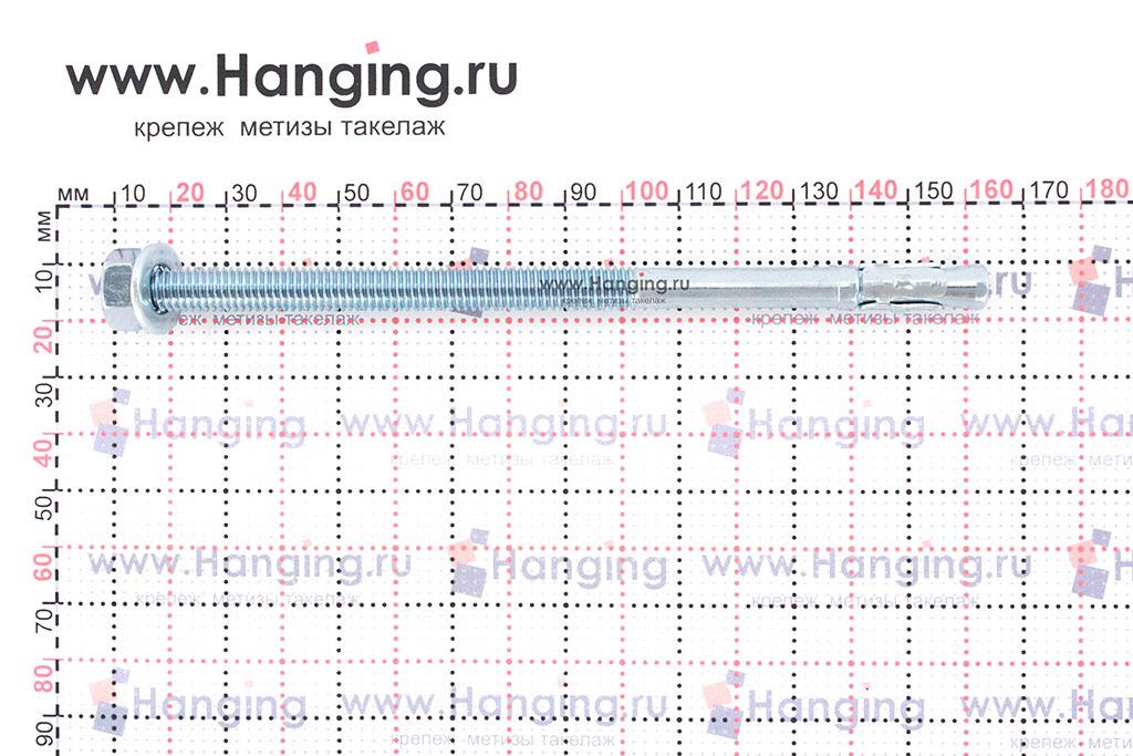 Размеры анкеров оцинкованных клиновых М8x150