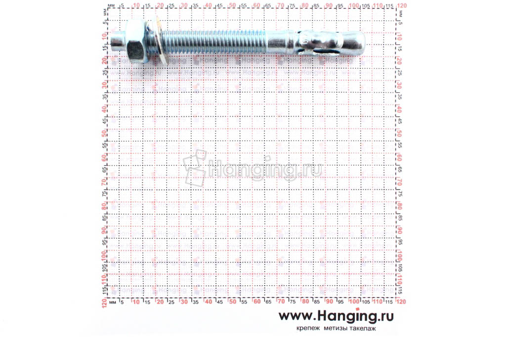 Размеры анкеров оцинкованных клиновых М10x100
