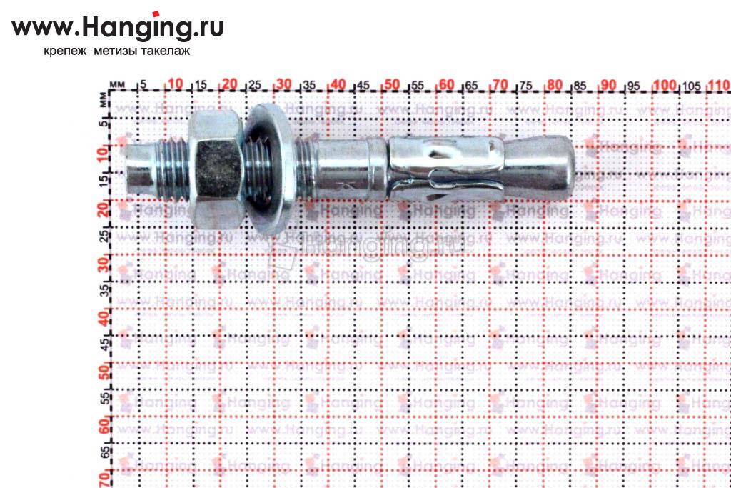 Размеры анкеров оцинкованных клиновых М12x80