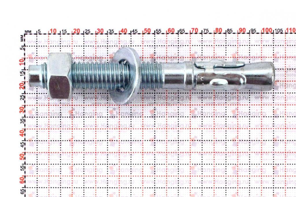 Размеры анкеров оцинкованных клиновых М12x100