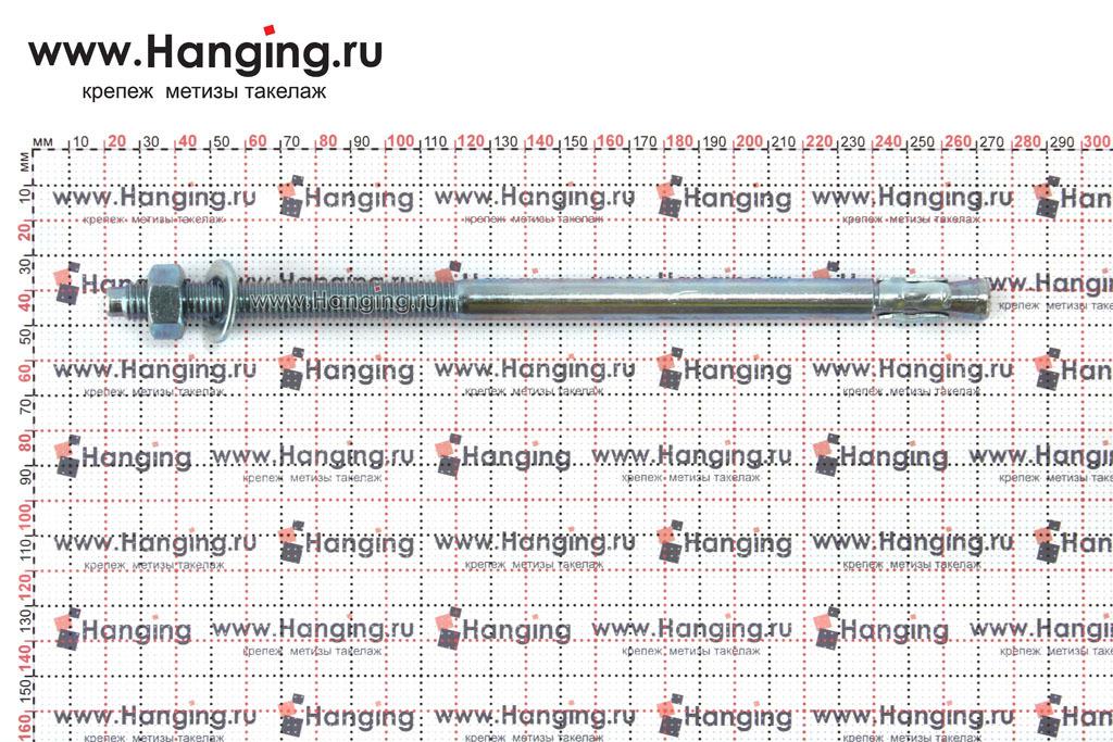 Размеры анкеров оцинкованных клиновых М12x250