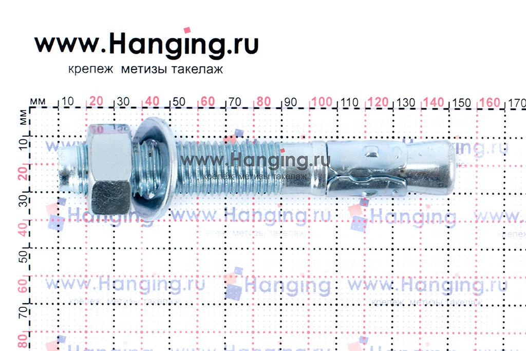 Размеры анкеров оцинкованных клиновых М20x140