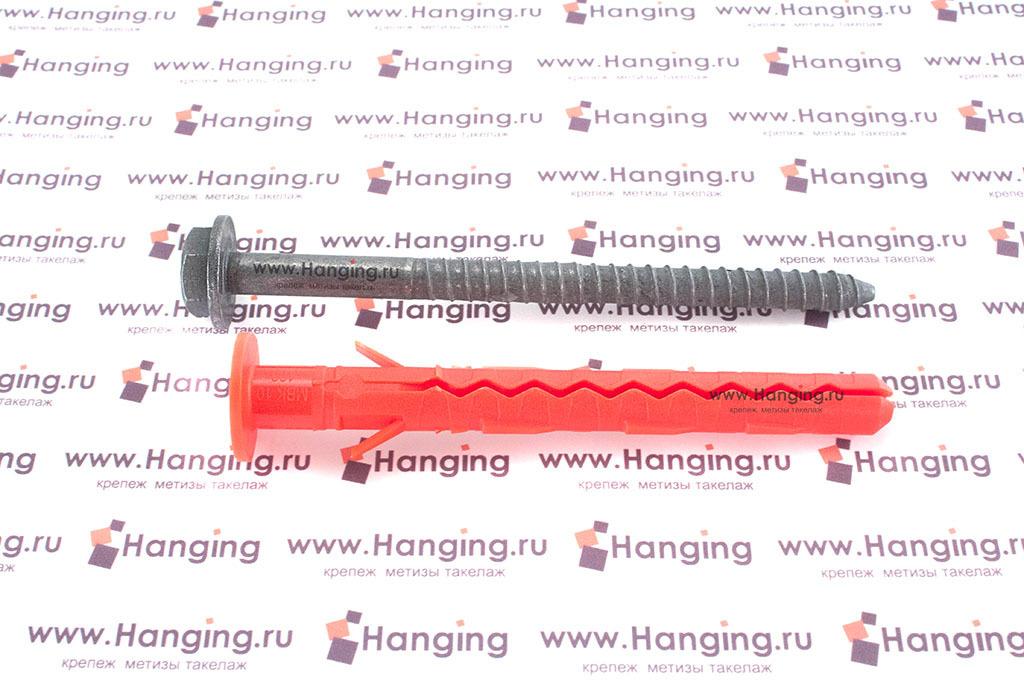 Дюбель фасадный с бортиком и горячеоцинкованным шурупом с пресс-шайбой с шестигранной головкой с шлицем Torx для пустотелого кирпича Mungo MBK-STBf 10*100