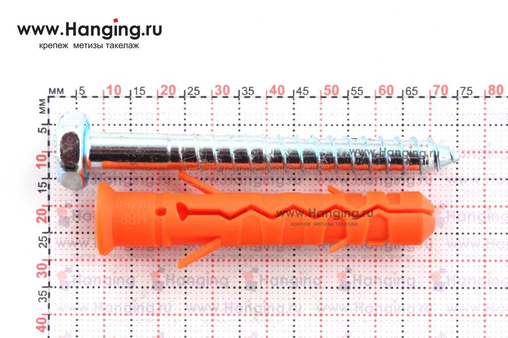 Размеры фасадного дюбеля 10*60 с шестигранным шурупом