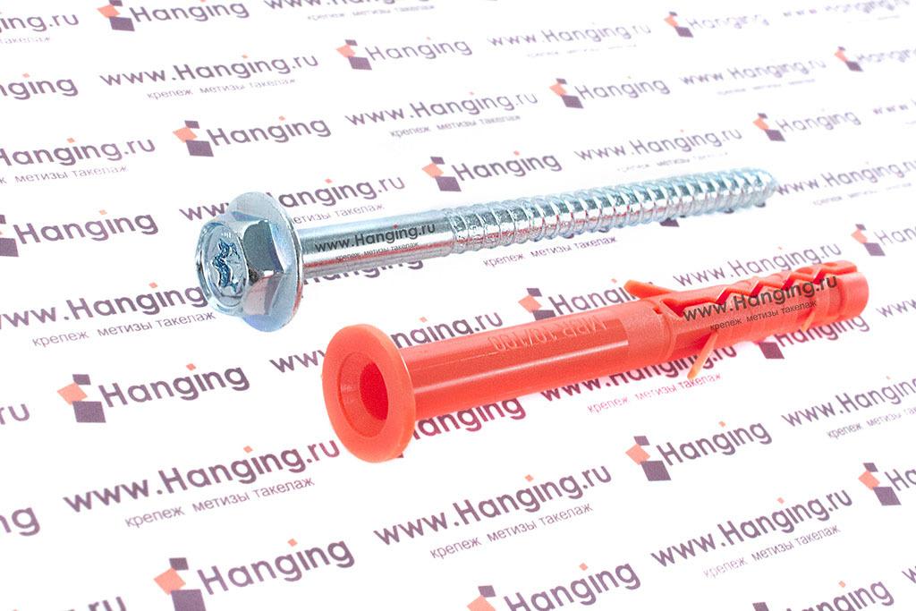 Дюбель фасадный с бортиком и шурупом с пресс-шайбой для газобетона Мунго MBK-STB 10х100