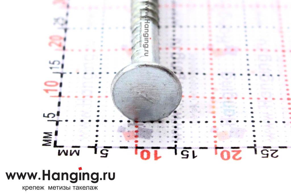 Шляпка (головка) ершёного оцинкованного гвоздя 3,4х90