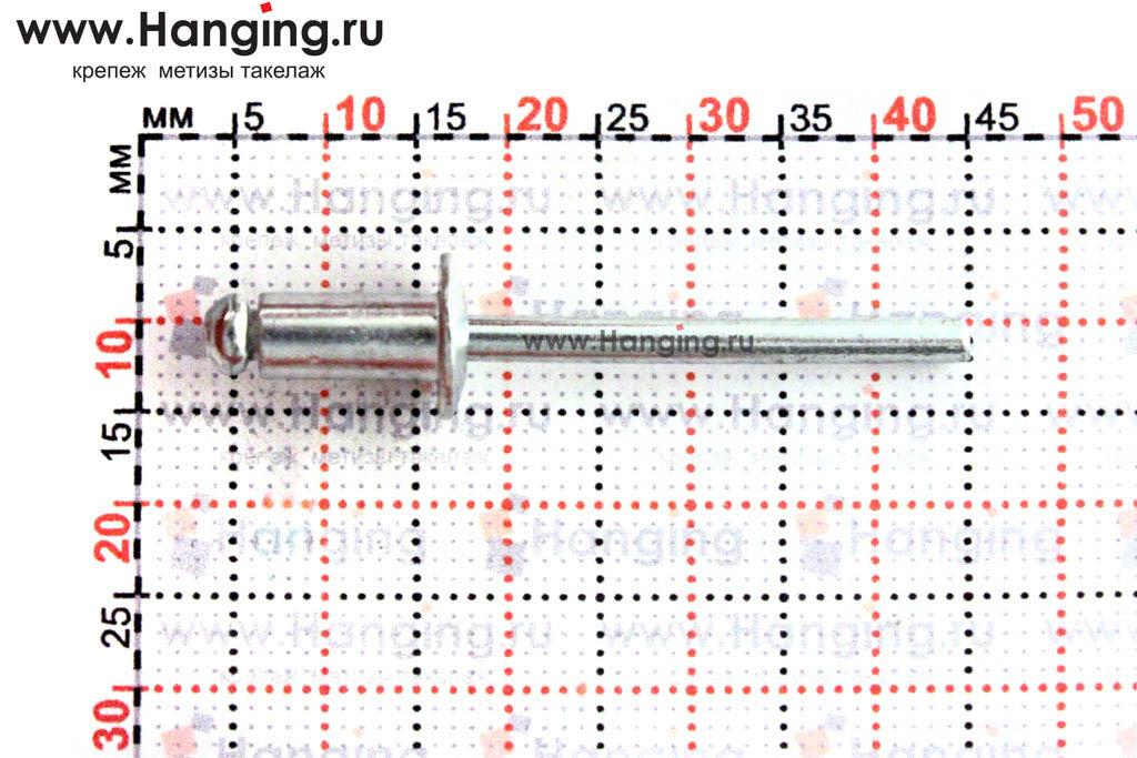 Размеры вытяжной заклепки 4,8х10 Al/St DIN 7337 Form A