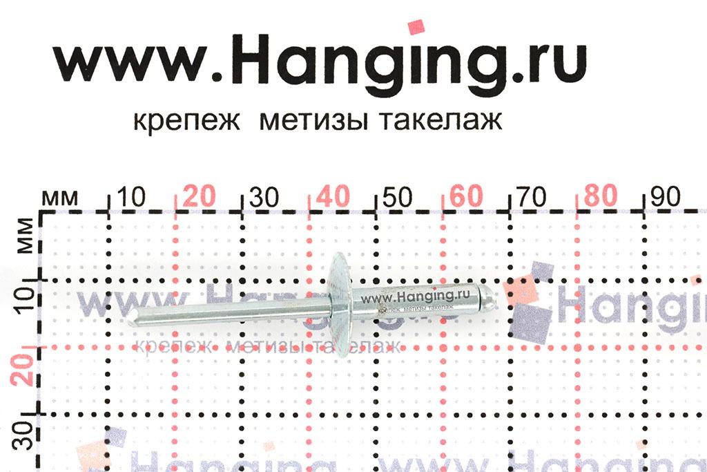 Размеры вытяжной заклепки 4,8х16 St/St DIN 7337 Form A