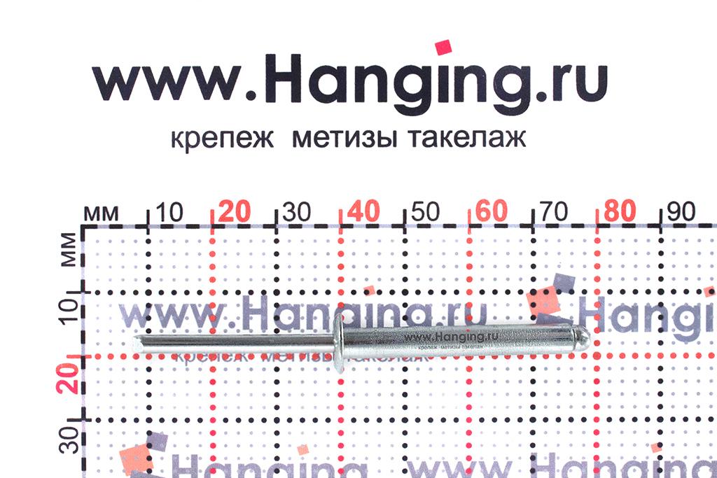 Размеры вытяжной заклепки 4,8х35 St/St DIN 7337 Form A
