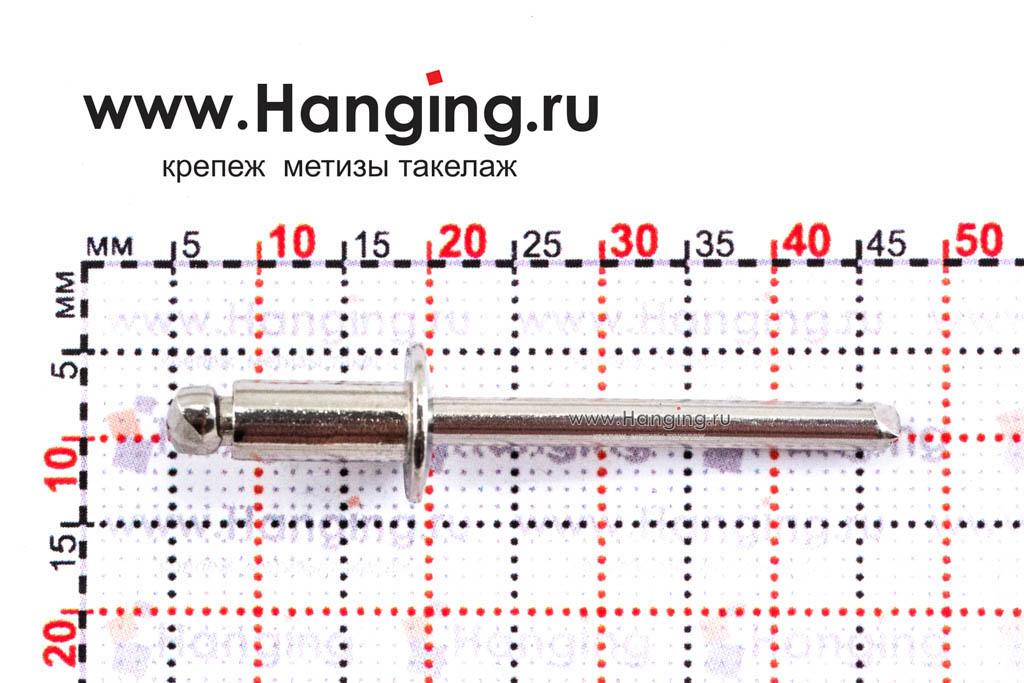 Размеры вытяжной заклепки 4,8х10 A2/A2 DIN 7337 Form A