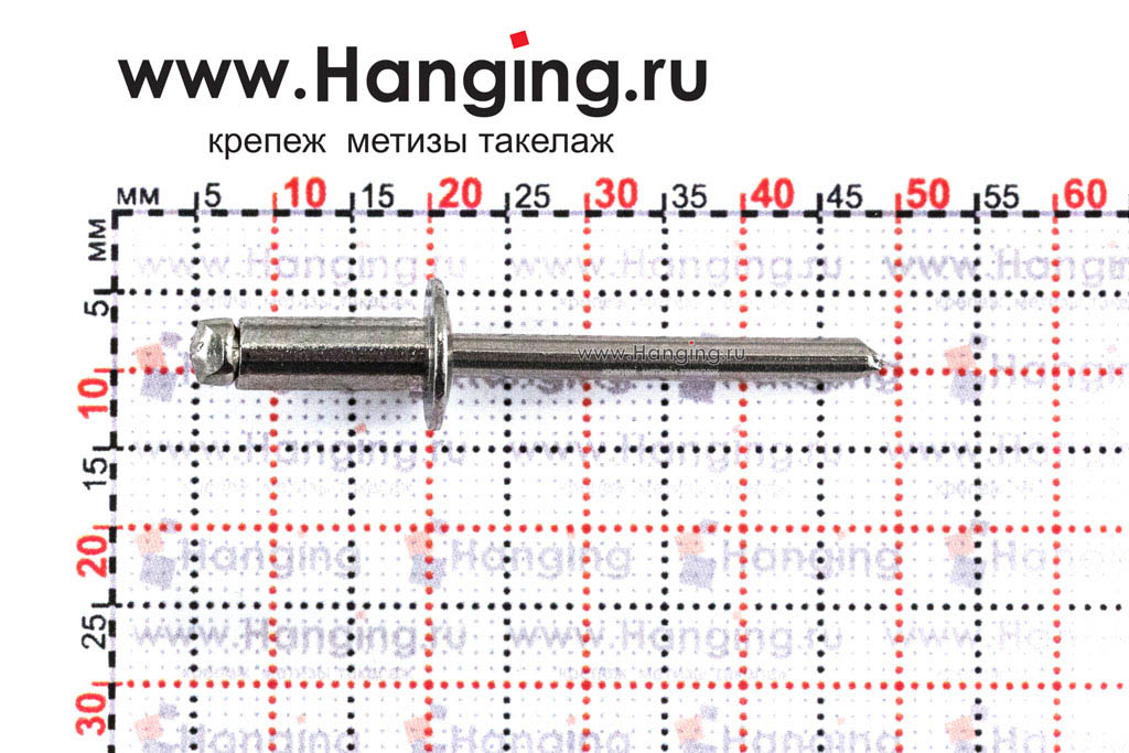 Размеры вытяжной заклепки 4,8х12 A2/A2 DIN 7337 Form A