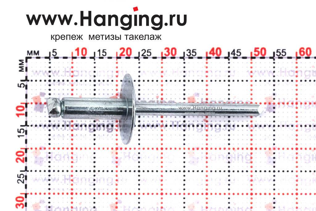 Размеры вытяжной заклепки 4,8х14 с широким бортиком St/St DIN 7337 Form C