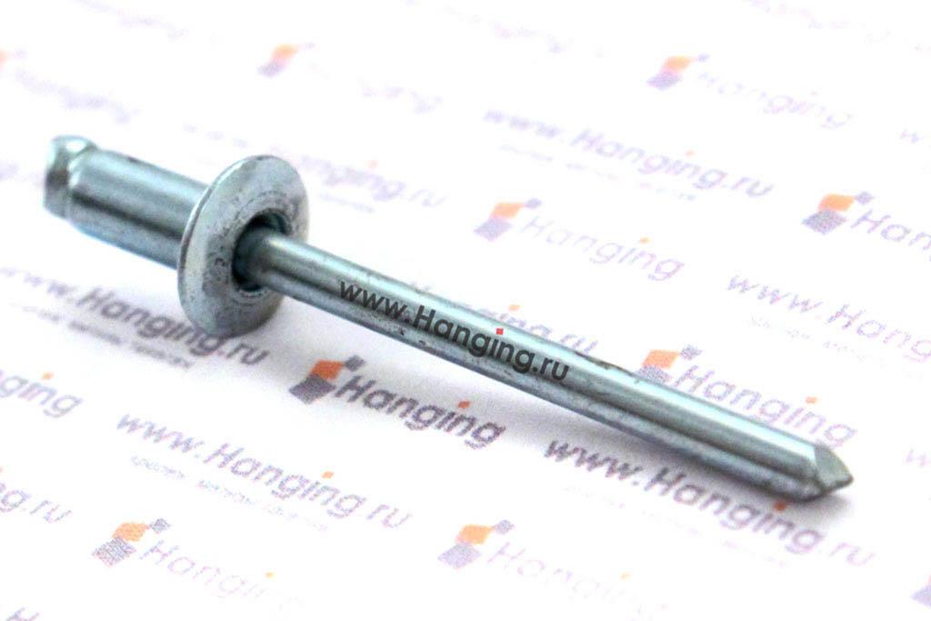 Заклепка слепая 4*8 с раскрывающимся корпусом и выпускной головкой алюминий/сталь