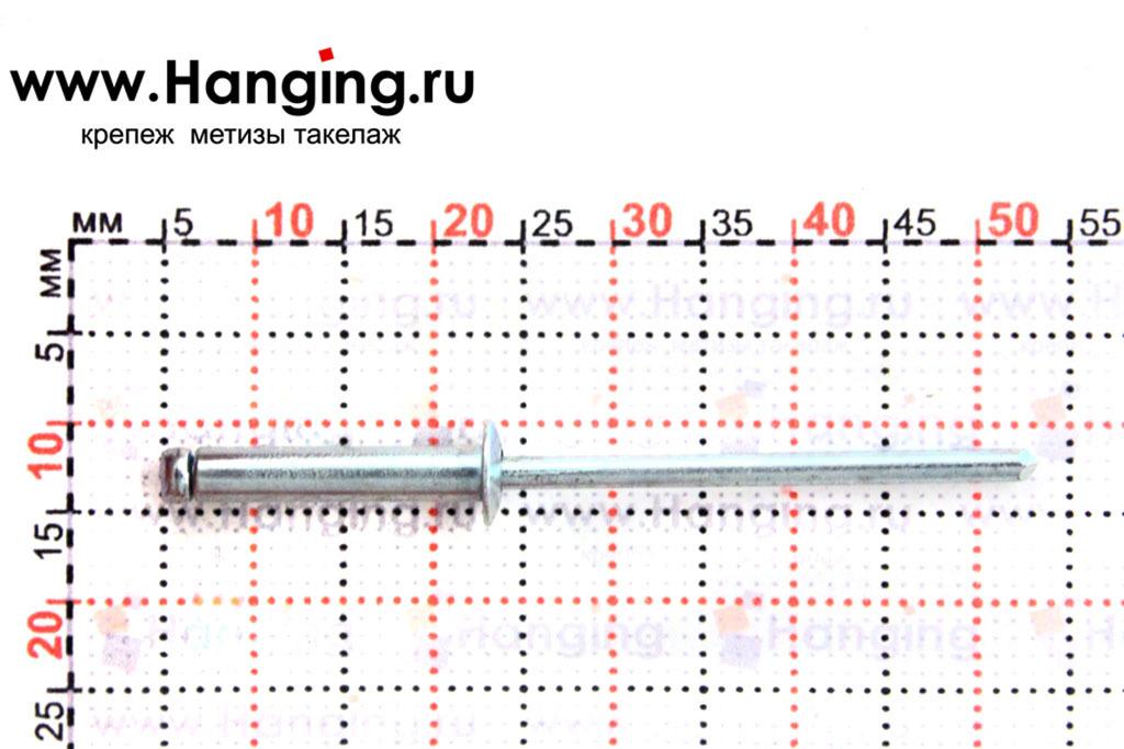 Размеры вытяжной заклепки 3,2х16 St/St Брало (Испания)