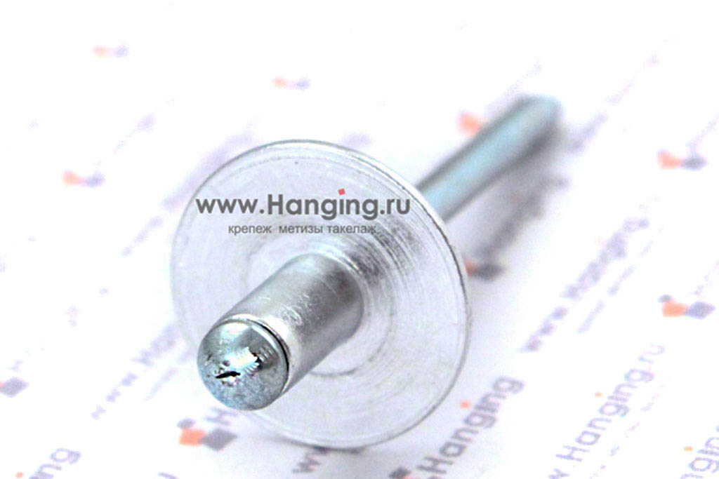 Вытяжная заклепка 4*8 стандартная с увеличенным бортиком сталь Bralo