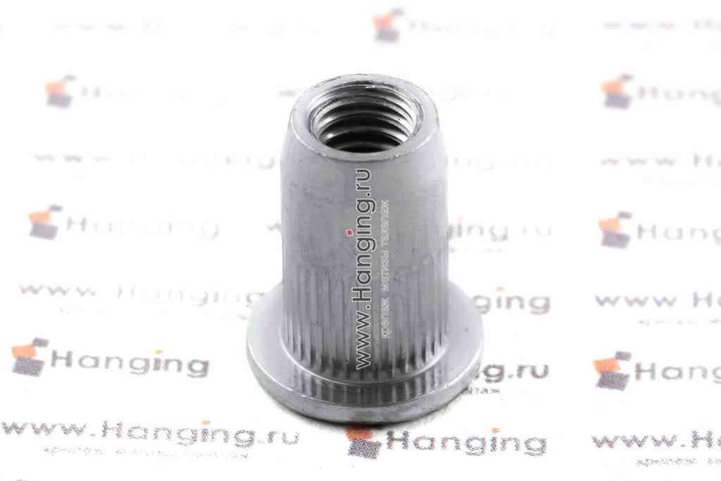 Заклепка-гайка М6х14,5 цилиндрическая с насечками со стандартным фланцем сталь Bralo