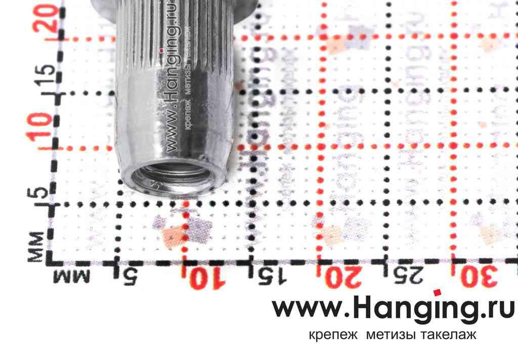 Размеры резьбовых заклепок М6х14,5 цилиндрической формы с насечками с цилиндрическим бортиком из стали Bralo (Брало, Испания)
