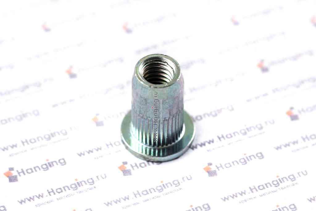 Заклепка-гайка М6х16,5 цилиндрическая с насечками со стандартным фланцем сталь Bralo