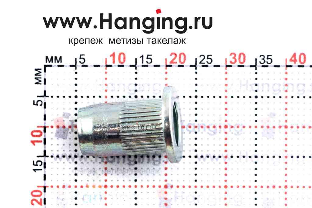 Резьбовые заклепки М6*16,5 с выпускным фланцем из стали цилиндрической формы с рифлением Bralo (Брало, Испания)