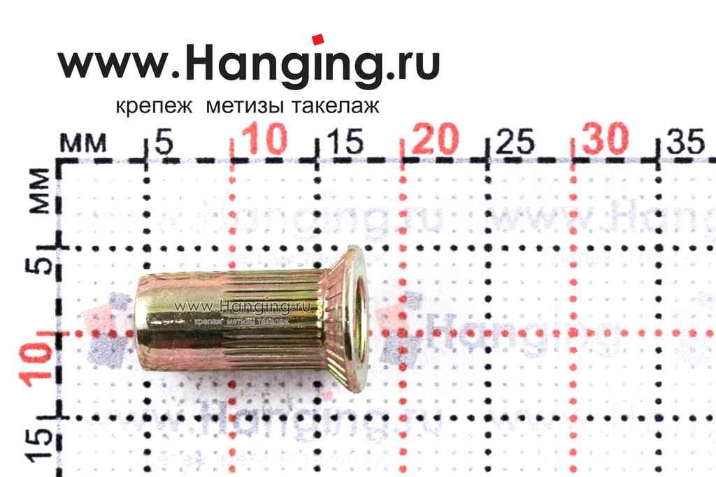 Резьбовые заклепки М4*13 с потайным фланцем из стали цилиндрической формы с рифлением