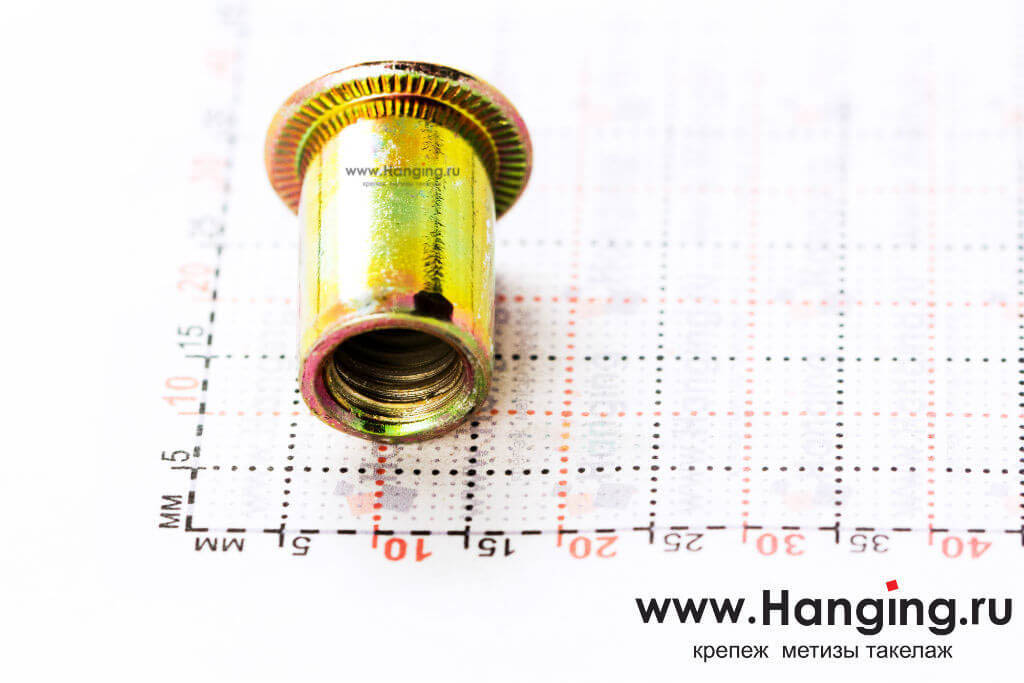 Резьбовая цилиндрическая заклепка М8х19 из стали