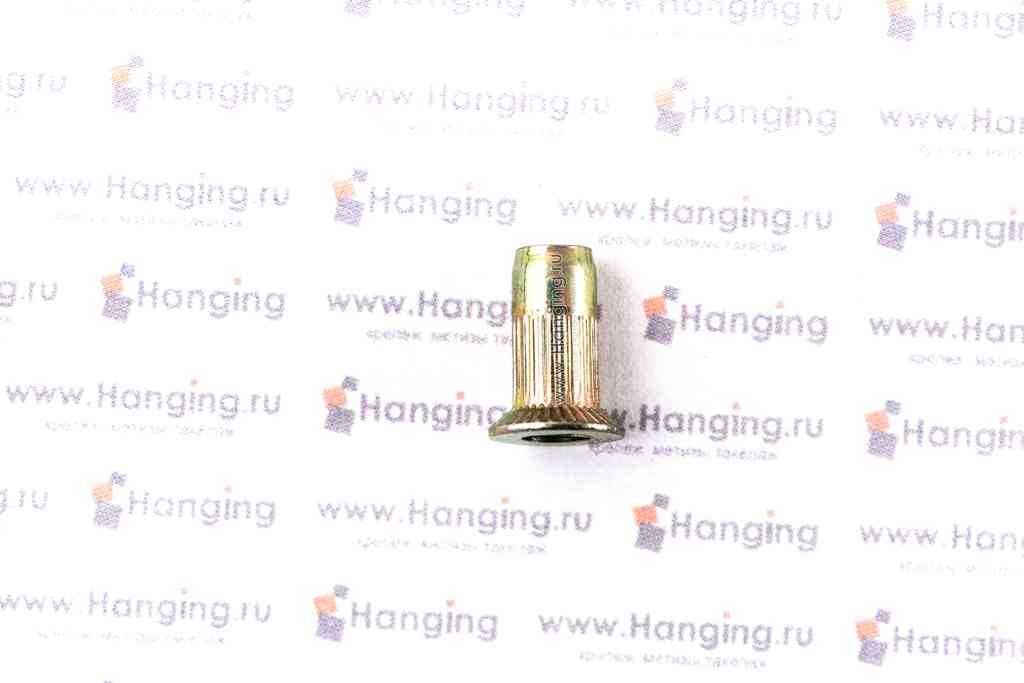 Резьбовые заклепки цилиндрической формы с рифлением М3х11 с потайным фланцем из стали