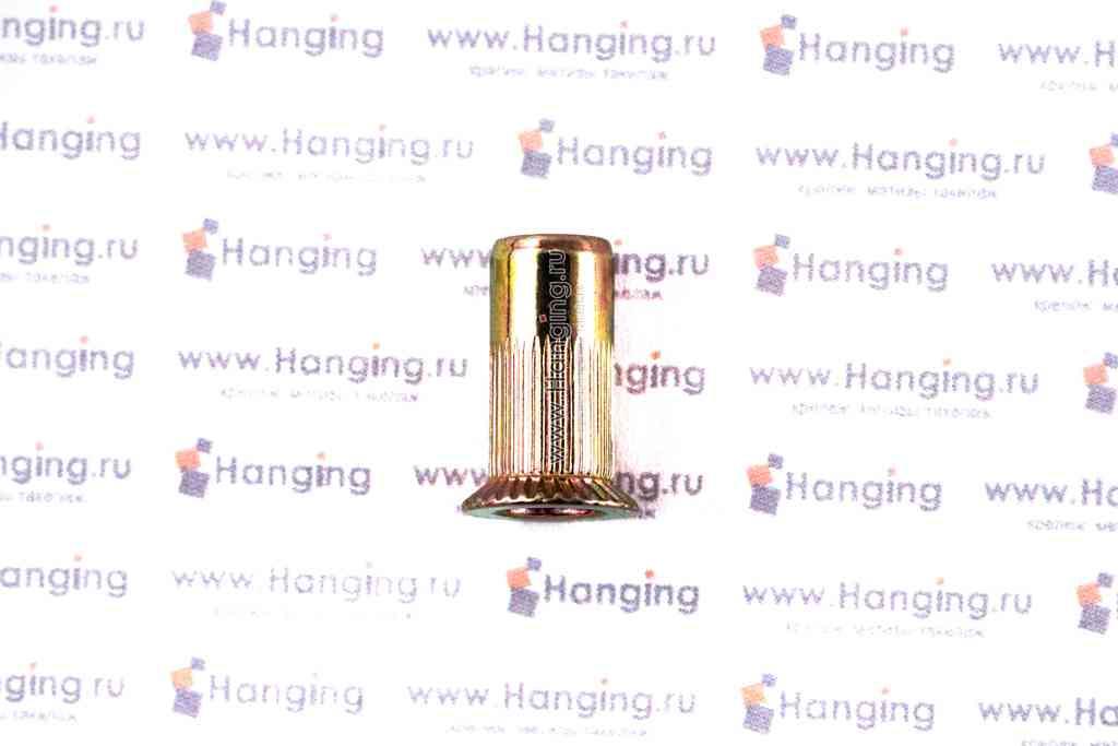 Заклепки-гайки цилиндрические рифленые с потайным бортиком из стали