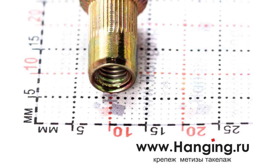 Размеры резьбовых заклепок М5х15 цилиндрической формы с насечками с потайным бортиком из стали