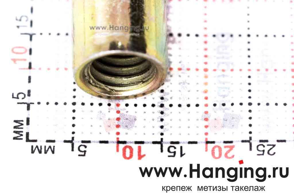 Размеры резьбовых заклепок М8х19 цилиндрической формы с насечками с потайным бортиком из стали