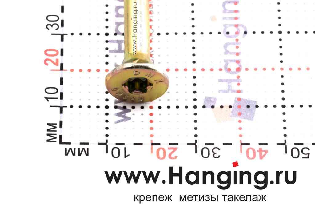 Головка самореза для плотных сортов дерева 8*360, желтый цинк, Torx