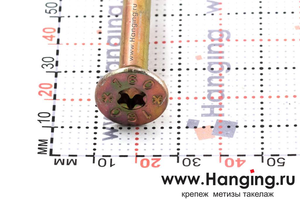Головка самореза для плотных сортов дерева 10*160, желтый цинк, Torx
