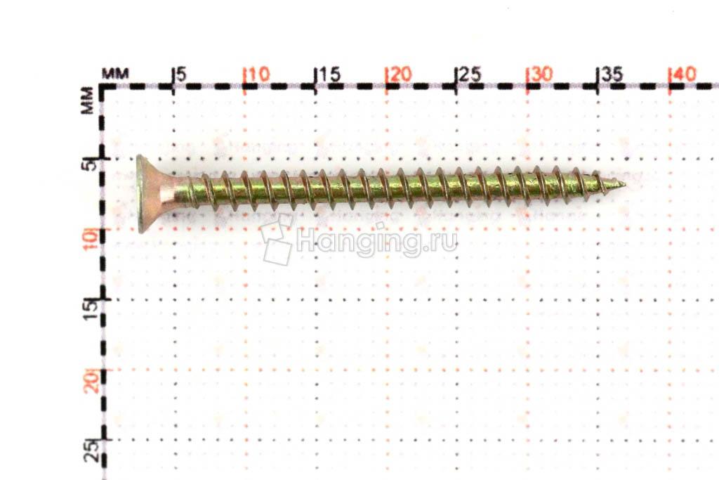 Размеры самореза жёлтый цинк 3х35