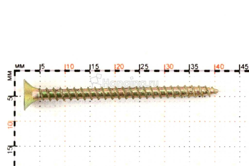 Размеры самореза жёлтый цинк 3х40