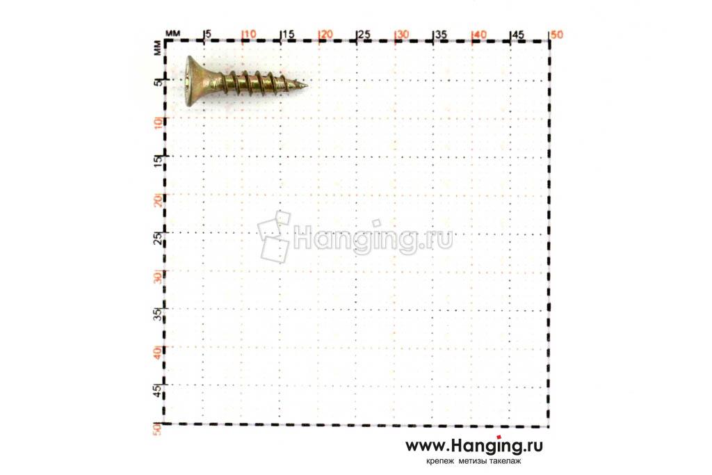 Размеры самореза жёлтый цинк 3.5*16