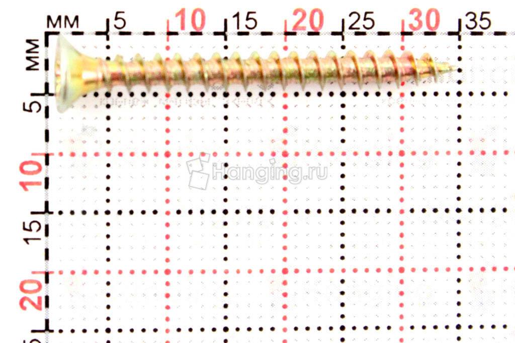 Размеры самореза жёлтый цинк 3.5х35