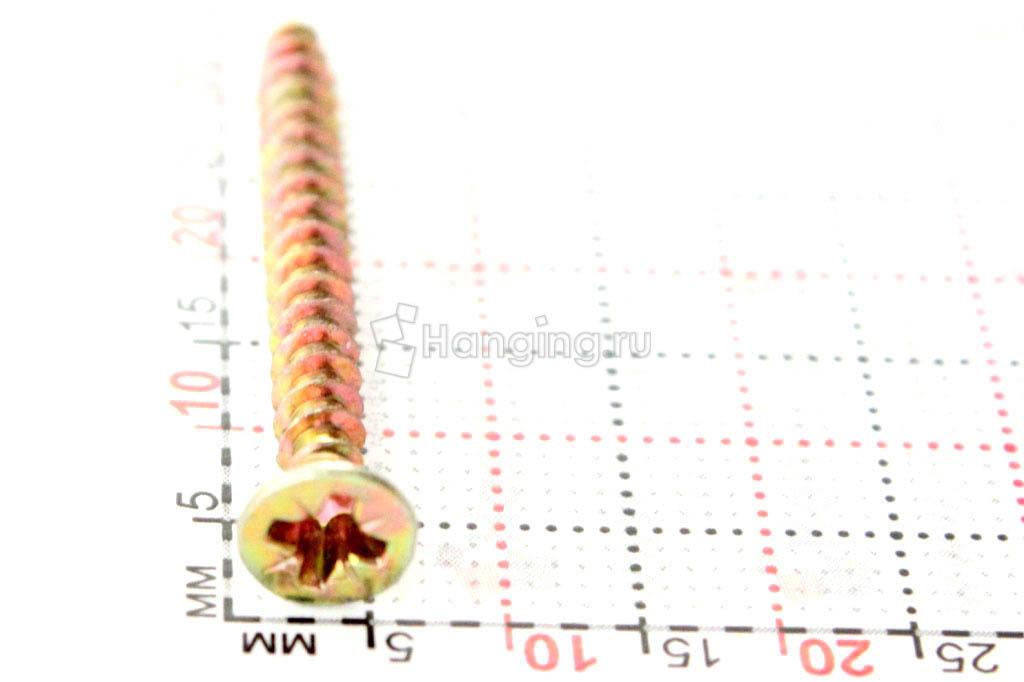 Желтый саморез 3.5х35, размер головки