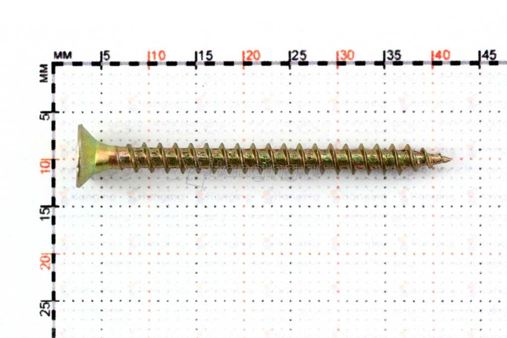 Размеры универсального желтопассированного самореза 3,5x40